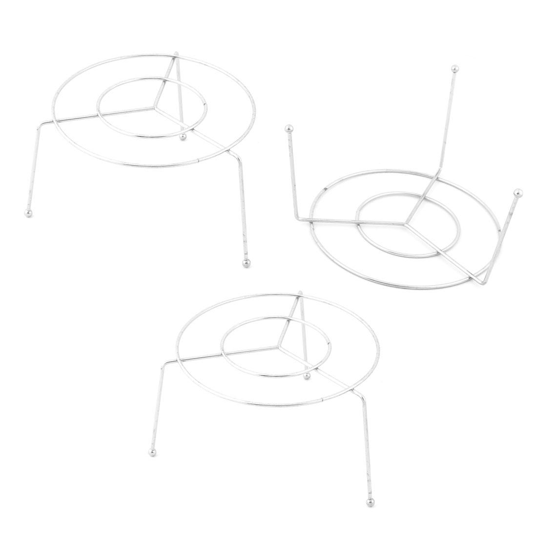 Stainless Steel Round Shape 3 Legs Design Steam Rack 11.3cm x 7cm 3 Pcs
