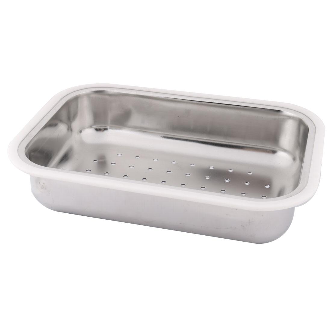 Kitchen Stainless Steel Vegetable Washing Basin Silver Tone White 35cm x 25cm