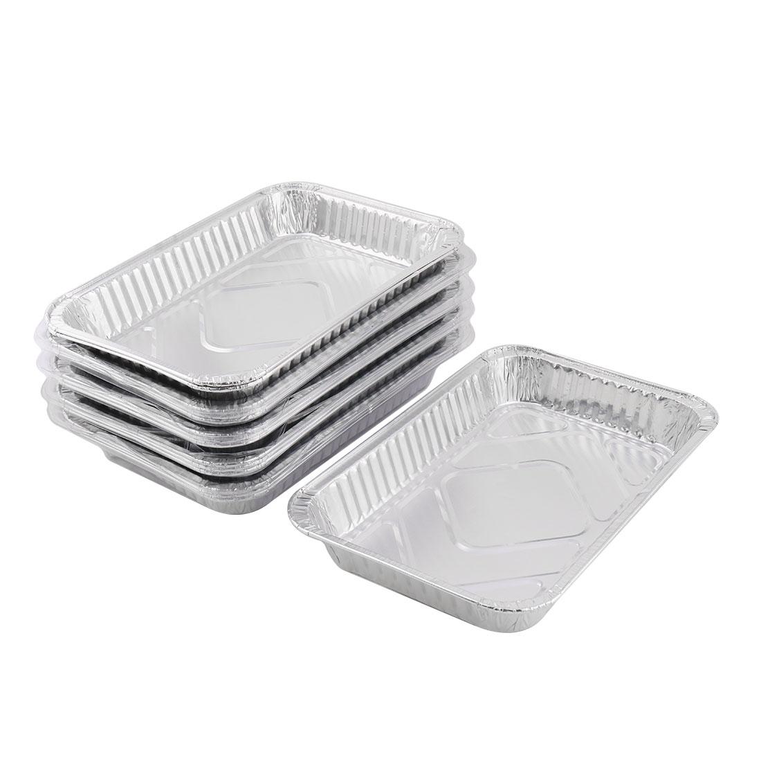 Family Kitchen Aluminum Foil Rectangular Food Container Silver Tone 1800ml 15pcs