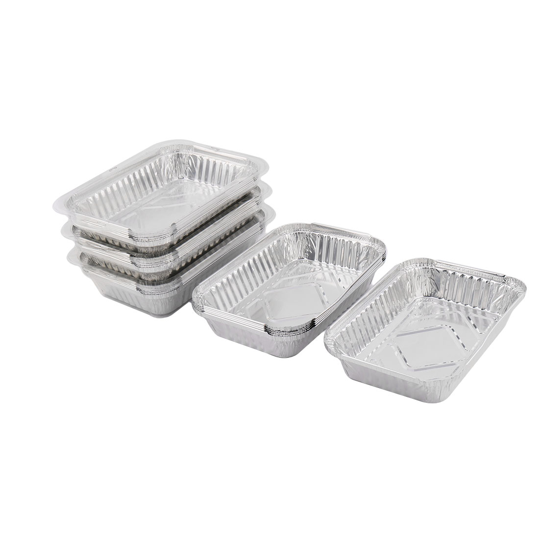 Kitchen Utensil Aluminum Foil Disposable Food Container Silver Tone 650ml 24pcs