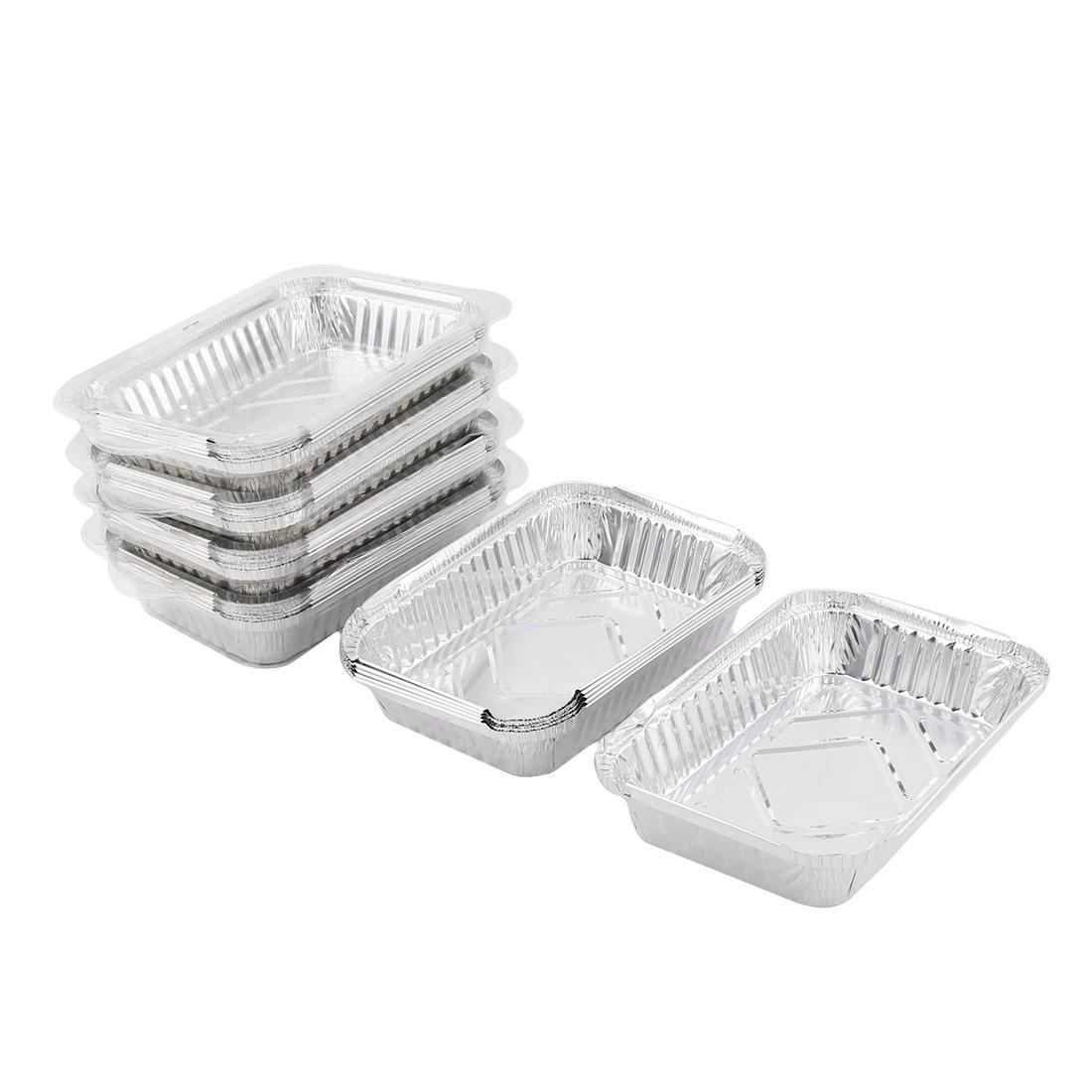 Outdoor Picnic Aluminum Foil Disposable Food Container Silver Tone 650ml 30pcs