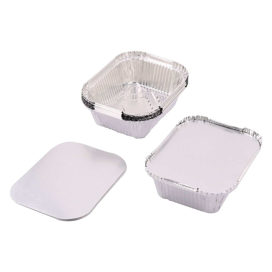 Dinnerware Aluminum Foil Disposable Food Baking Container Silver Tone 440ml 8pcs