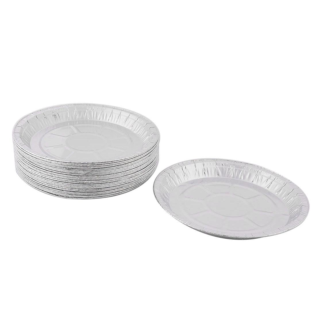 Kitchen Flatware Aluminum Foil Round Shaped Baking Container Silver Tone 32pcs