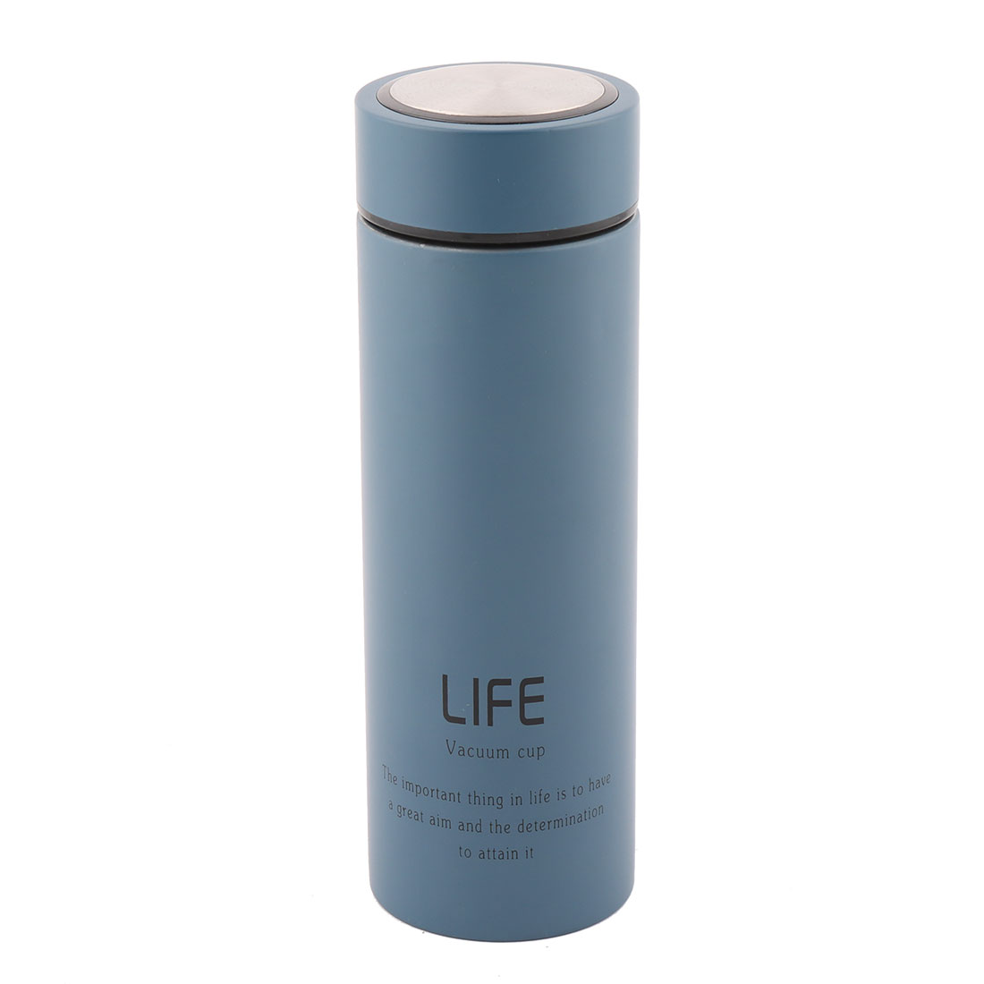 Home Stainless Steel Tea Water Insulated Vacuum Cup Bottle Flask Slate Blue 420ml