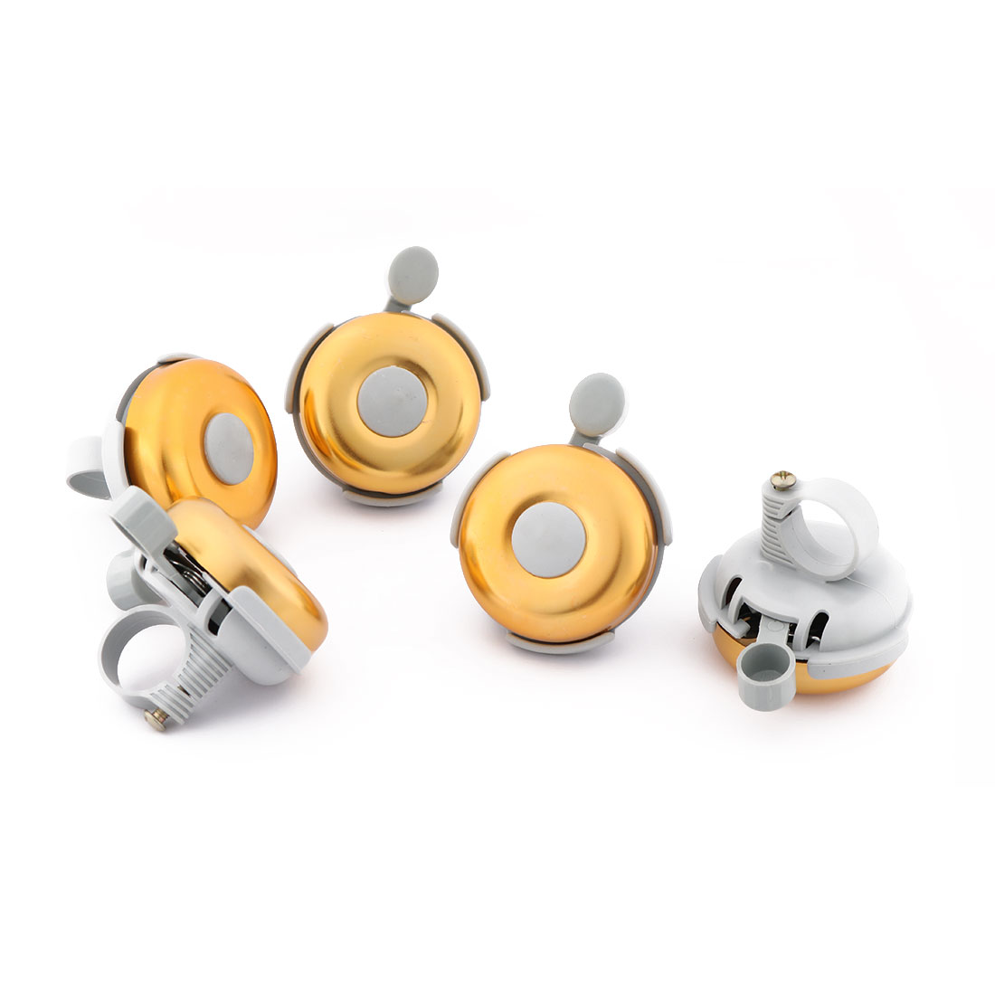 Bicycle Plastic Round Shape Handlebar Bell Sound Alarm Ring Gold Tone 5 Pcs
