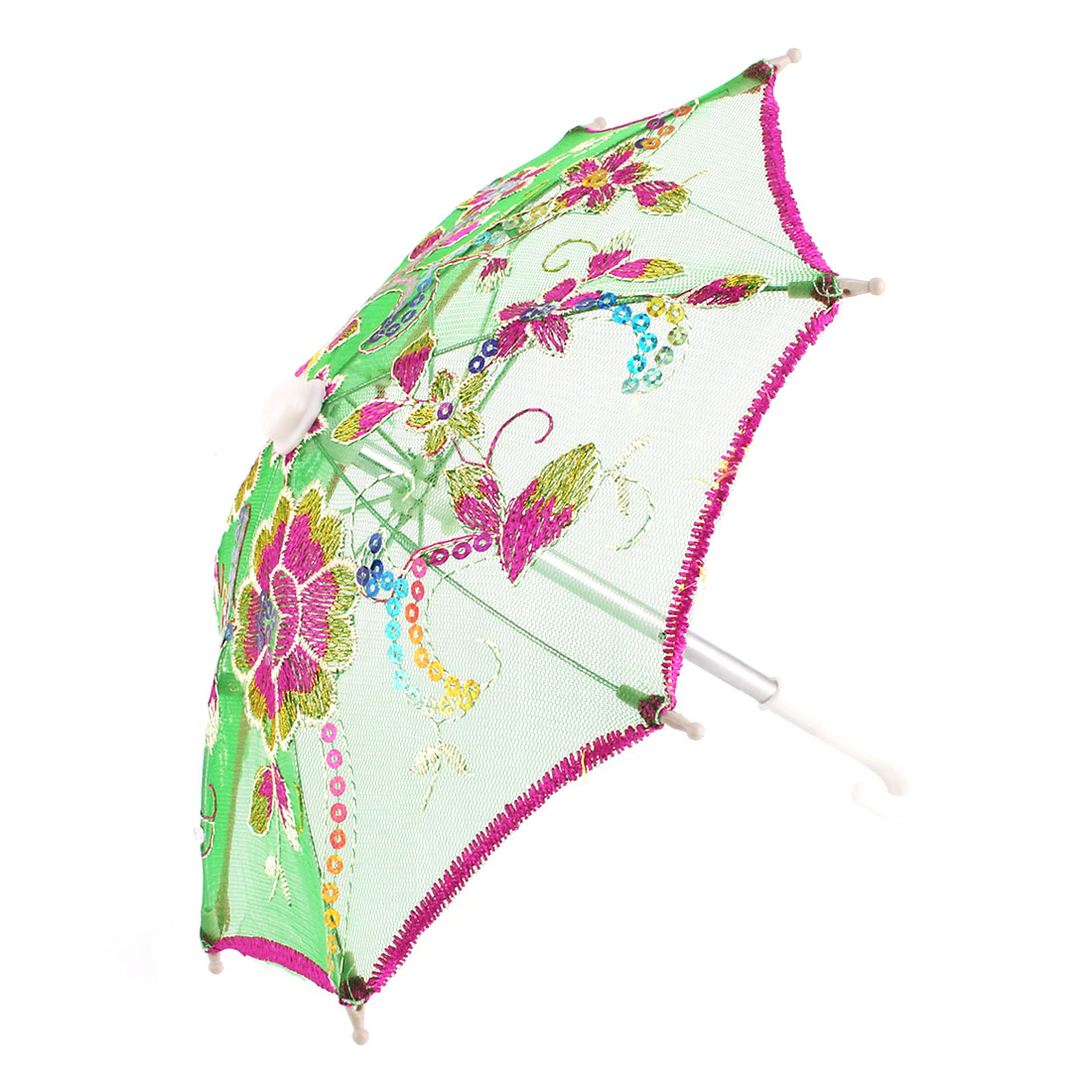 Home Dancing Lady Lace Flower Pattern Embroidered Sequin Decor Mini Umbrella