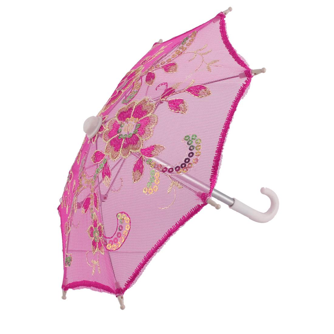 Festival Lace Flower Pattern Embroidered Sequin Decor Handle Folding Mini Umbrella