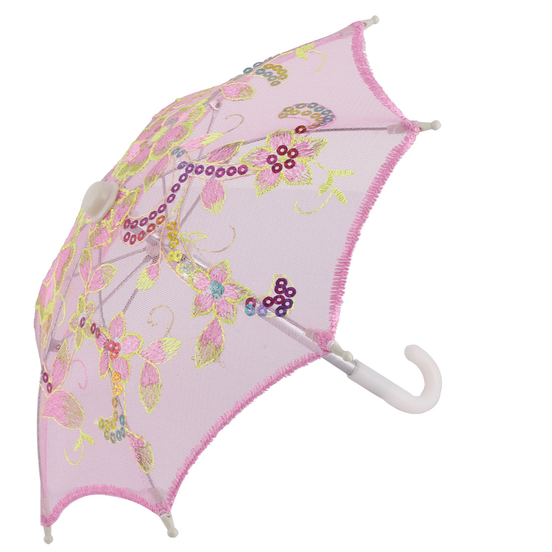 Dancing Lace Flower Pattern Embroidered Sequin Decor Craft Folding Mini Umbrella
