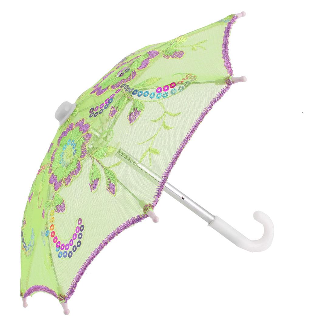 Home Party Woman Lace Flower Pattern Sequin Decoration Folding Mini Umbrella