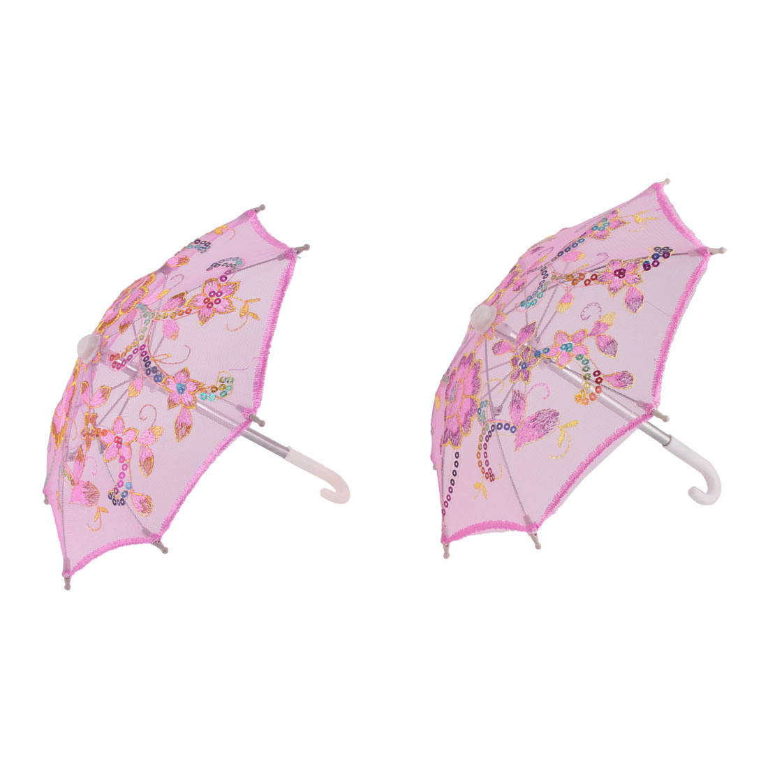 Outdoor Wedding Lace Floral Pattern Sequin Decor Folding Mini Umbrella 2pcs