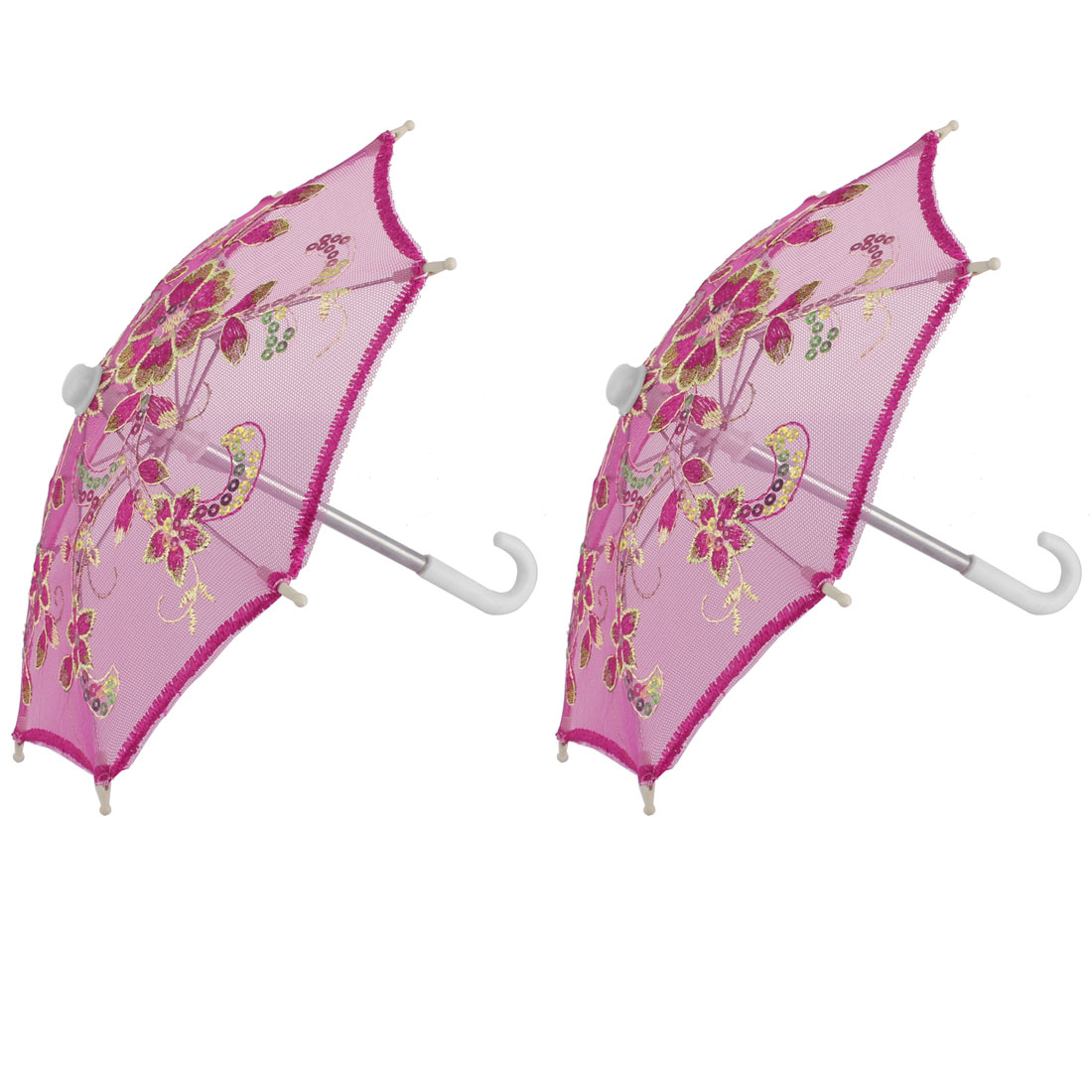Outside Party Lace Floral Pattern Sequin Decor Handmade Folding Mini Umbrella 2pcs