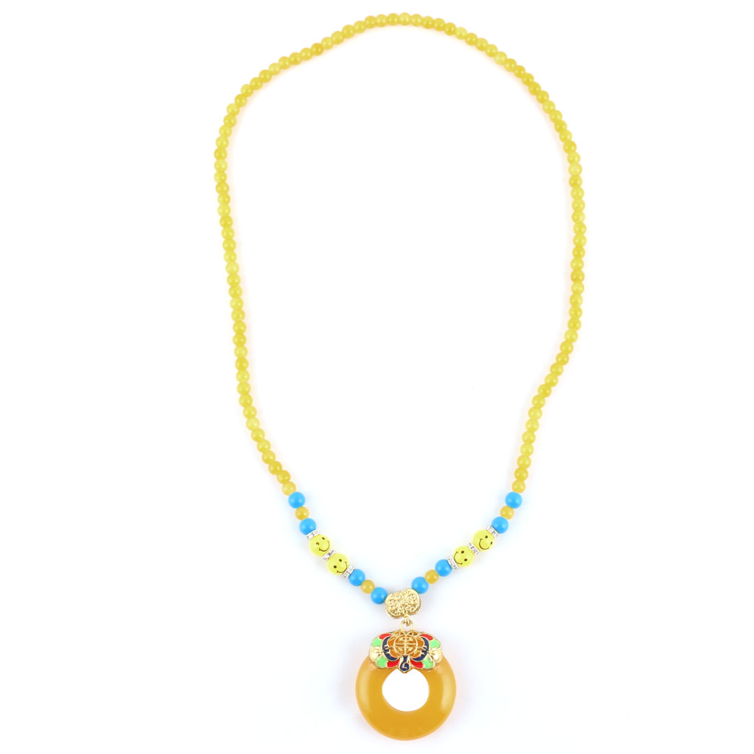 Home Ladies Plastic Bead Round Shaped Pendant Chinese Style Necklet Necklace