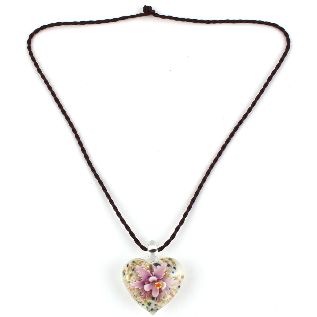 Home Ladies Glass Flower Pattern Heart Shaped Pendant Neck Ornament Necklace Pink