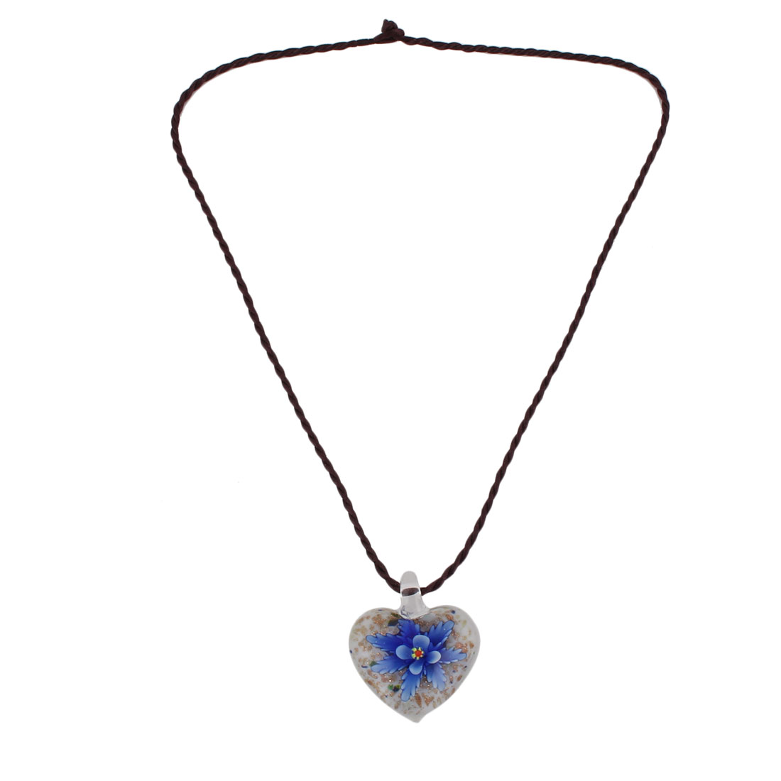 Home Ladies Glass Flower Pattern Heart Shaped Pendant Neck Ornament Necklace Blue