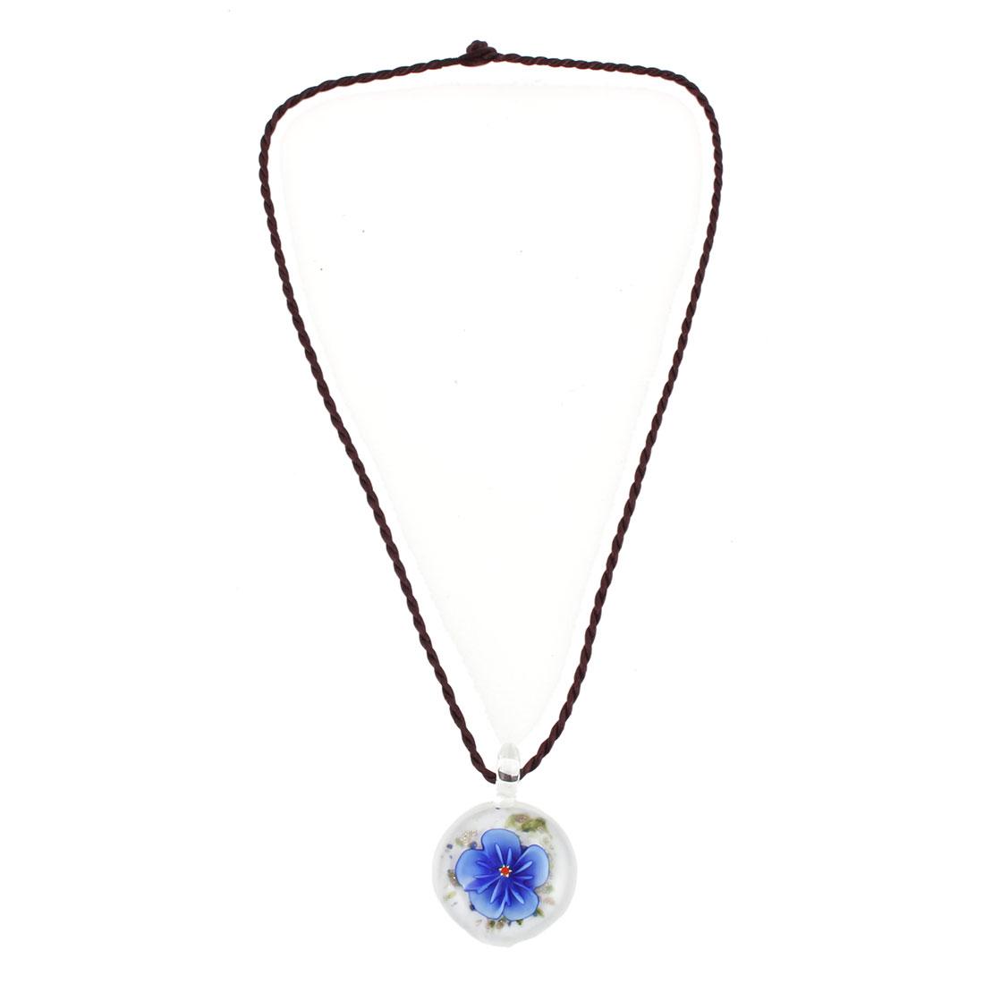 Household Woman Glass Floral Pattern Pendant Neck Ornament Decoration Necklace Blue