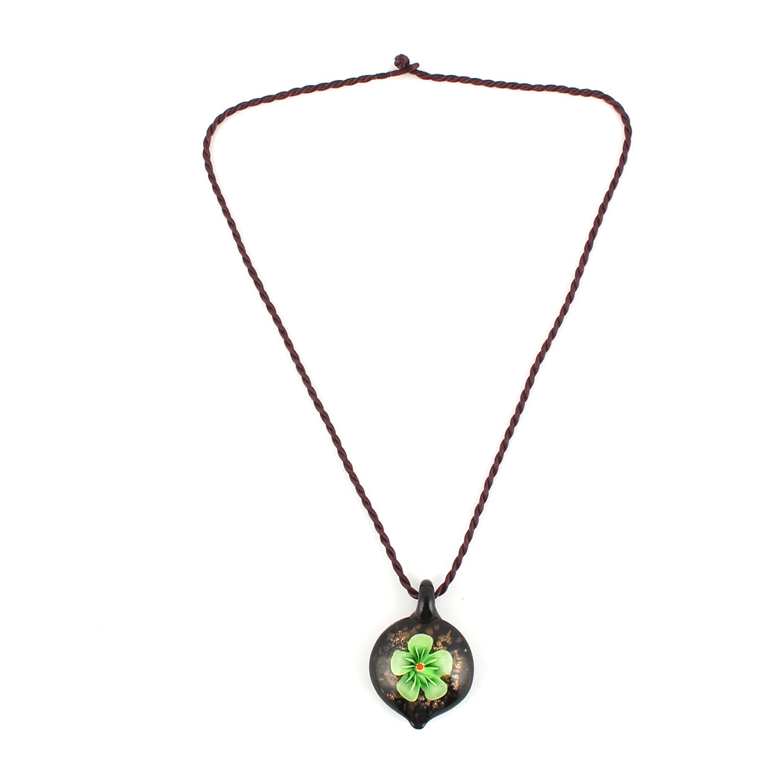 Wedding Outdoor Lady Glass Floral Pattern Pendant Neck Decor Necklet Necklace Green
