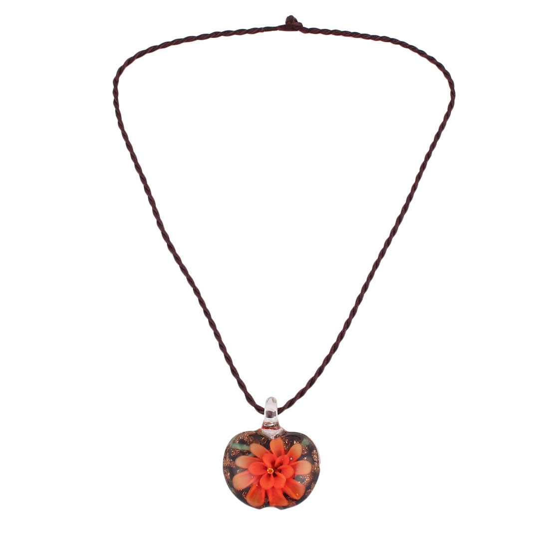 Travel Party Ladies Women Glass Flower Pattern Pendant Neck Ornament Necklace Orange