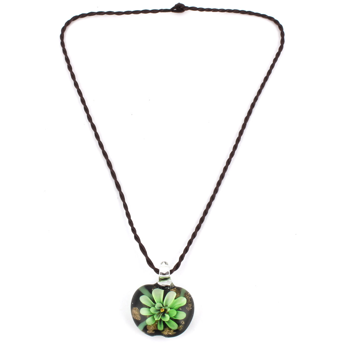 Travel Party Ladies Women Glass Flower Pattern Pendant Neck Ornament Necklace Green