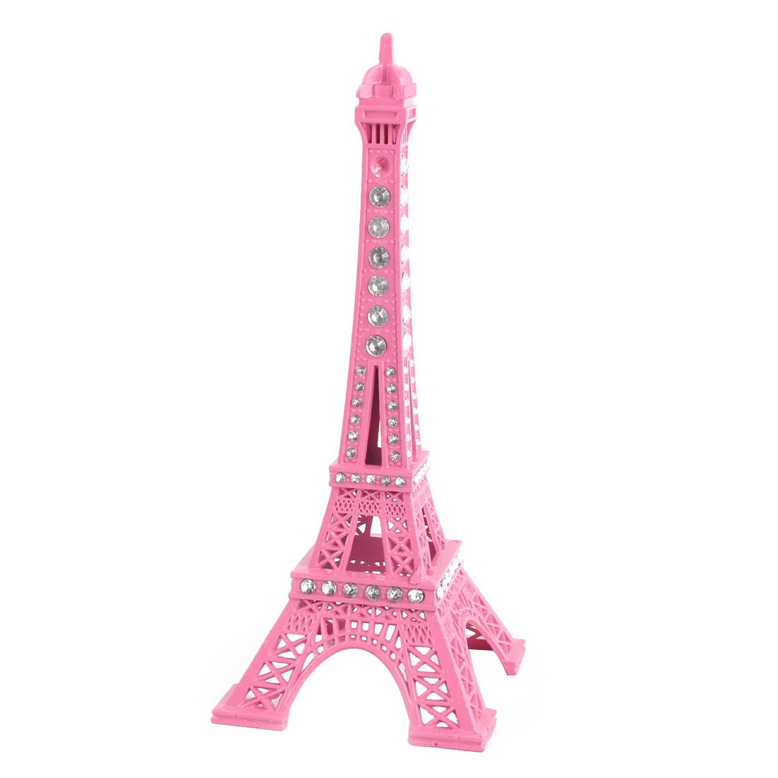 Household Desk Metal Miniature Statue Paris Eiffel Tower Model Souvenir Decor Pink