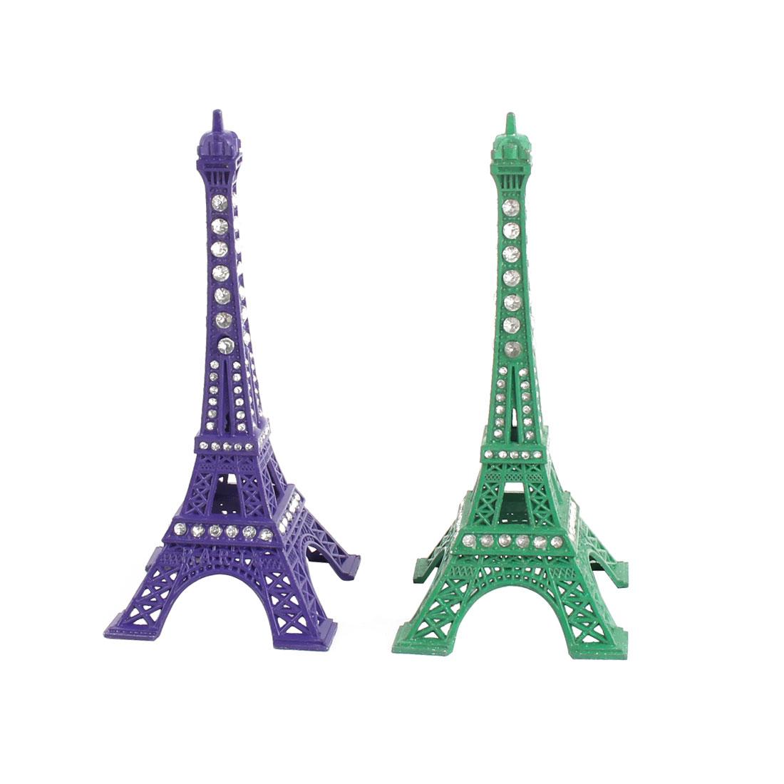 Room Bedroom Metal Miniature Statue Eiffel Tower Model Souvenir Ornament Green Purple 2pcs