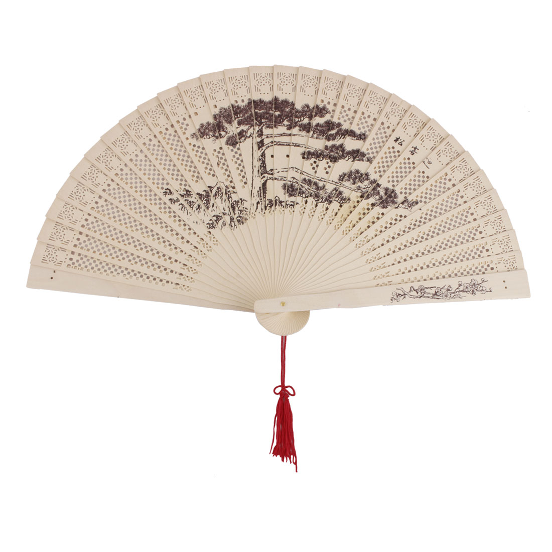 Dancing Wooden Pine Tree Pattern Chinese Style Scented Hanging Folding Hand Fan