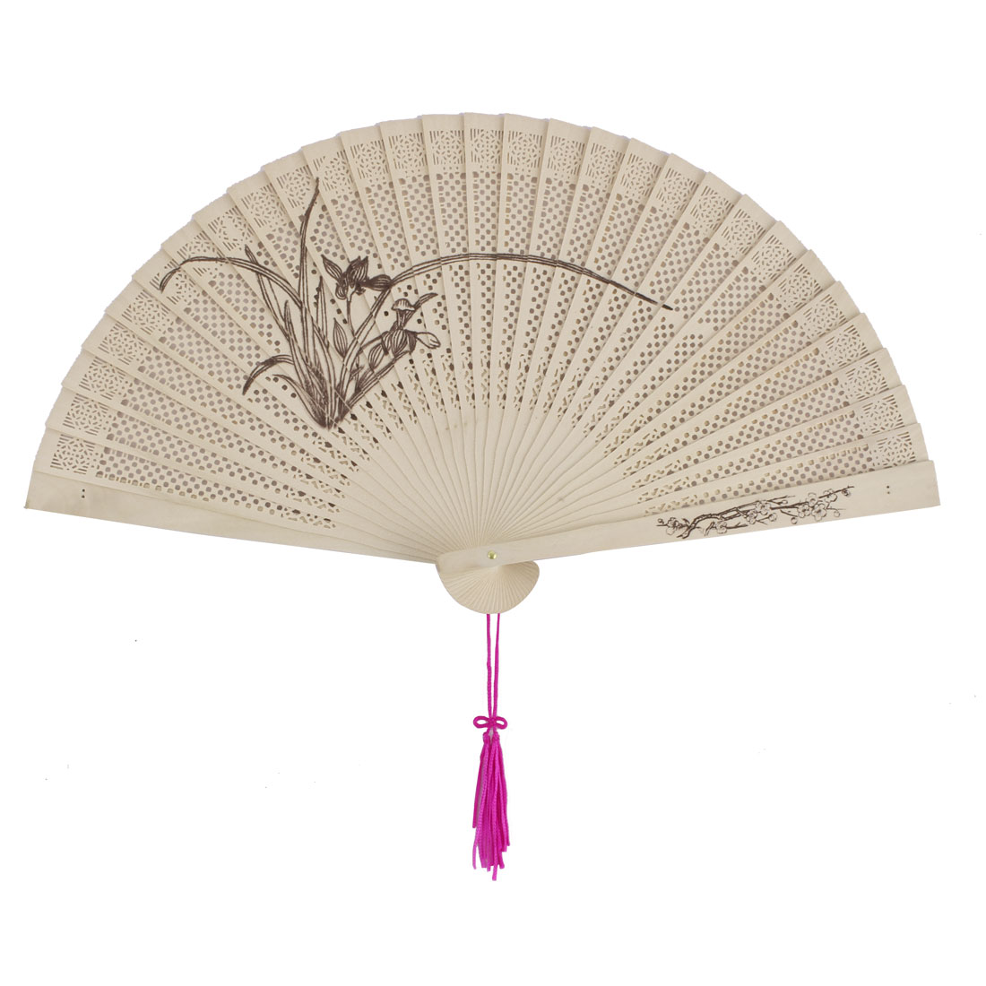 Outdoor Wooden Narcissus Pattern Chinese Style Scented Hanging Folding Hand Fan