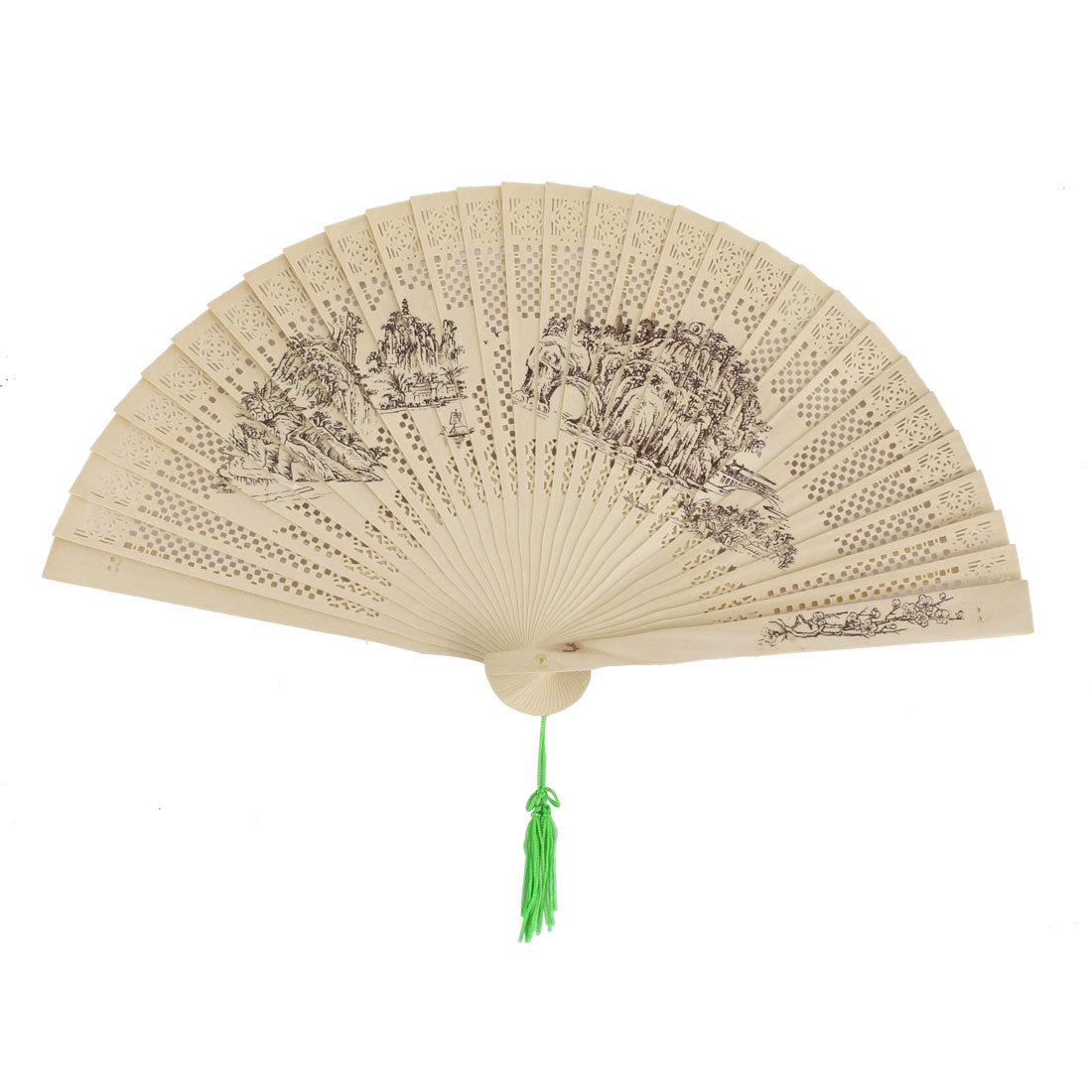 Party Woman Wooden Mountain Pattern Chinese Style Scented Hanging Folding Hand Fan