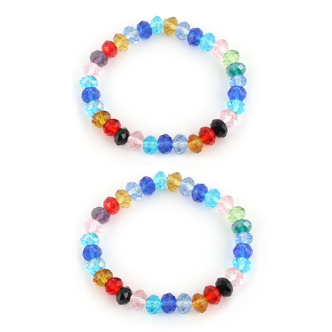 Festival Party Woman Ladies Plastic Bead Crystal Style Bracelet Bangle 2pcs