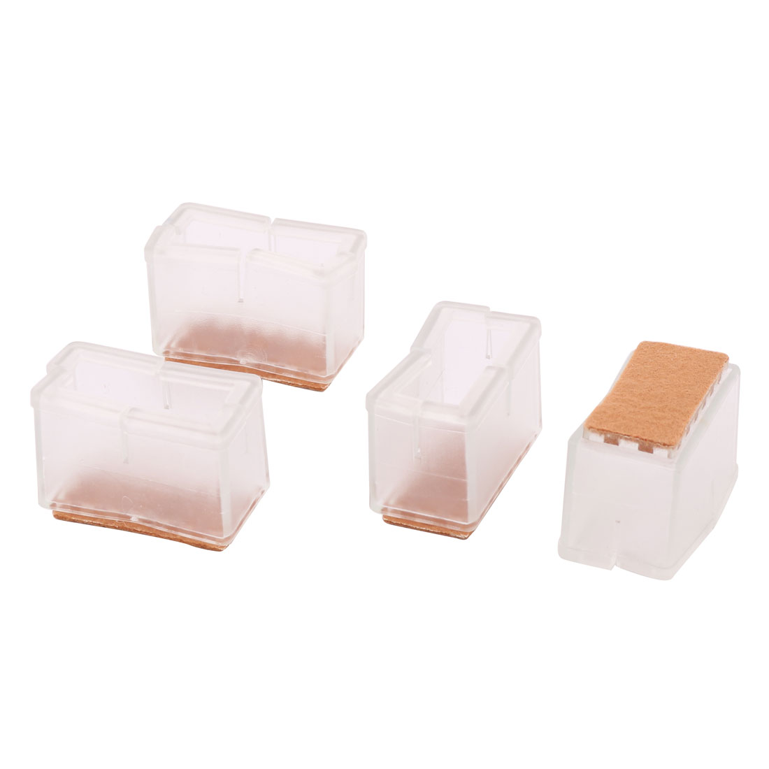 Home Furniture Rubber Rectangle Shape Floor Protector Table Chair Leg Cover Cap 4 Pcs