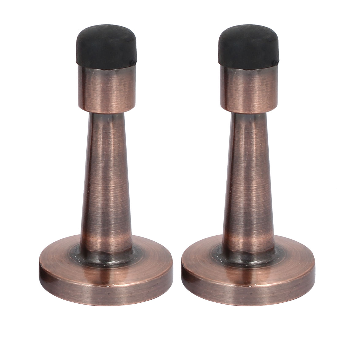 40mm x 80mm Round Base Wall Mounted Doorstop Door Stoppers Copper Tone 2pcs