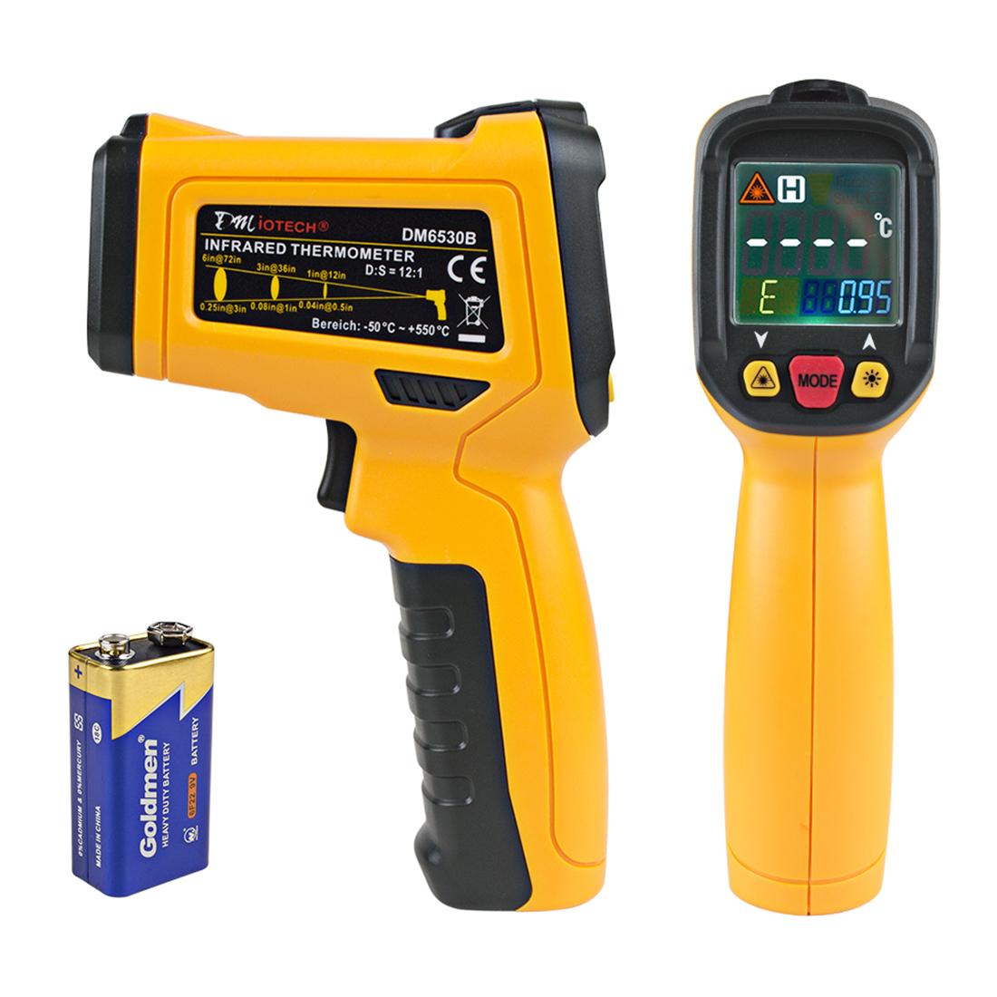 DM6530B Non-contact Digital Laser Infrared Thermometer Gun Temp Handheld Orange Black