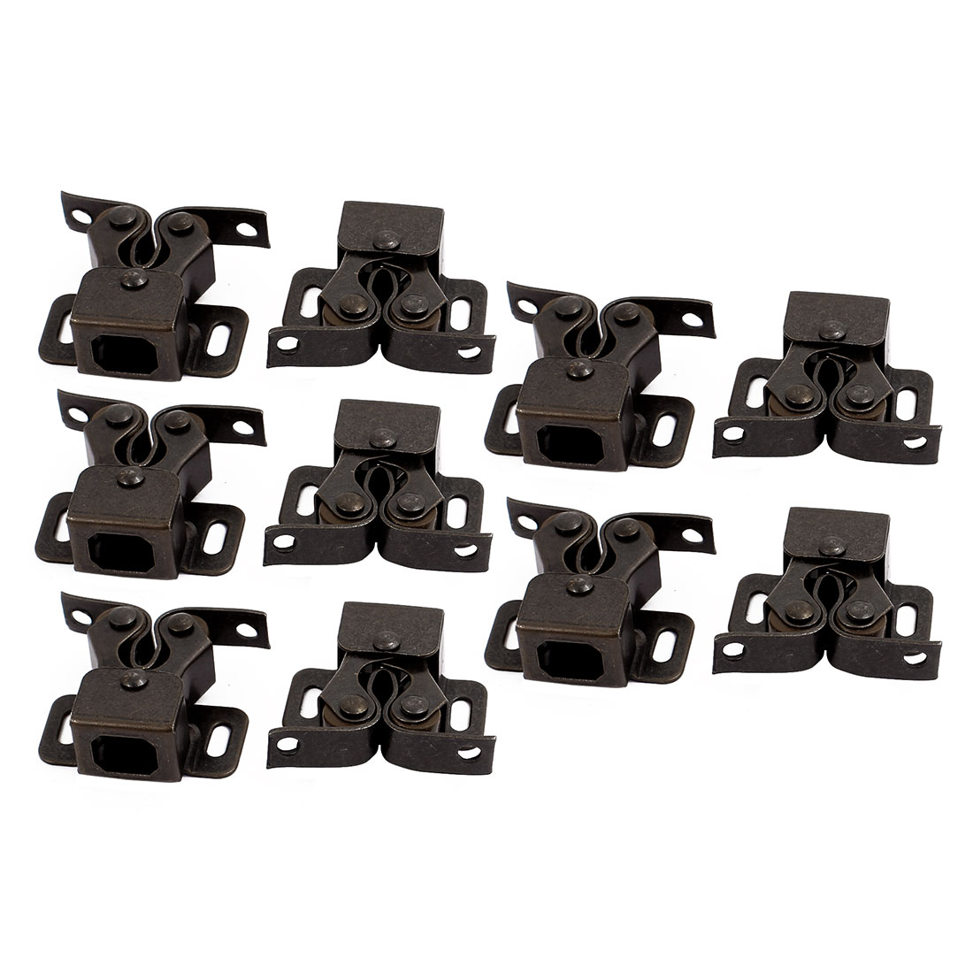 Cupboard Cabinet Door Double Ball Roller Catch Latch 35x28x12mm Bronze 10pcs