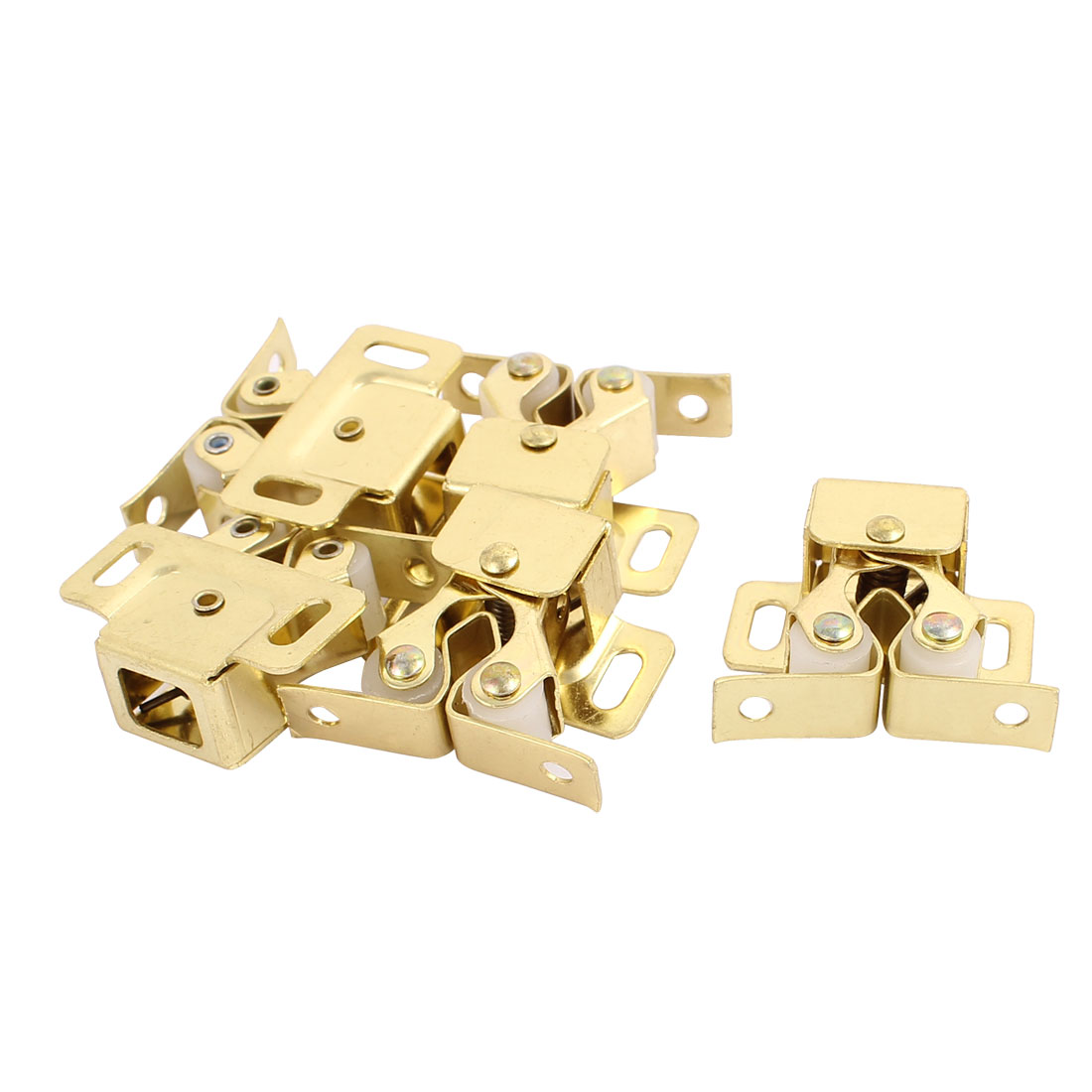 Cupboard Closet Cabinet Door Double Ball Roller Catch Latch 32 x 30 x 15mm Gold Tone 5pcs