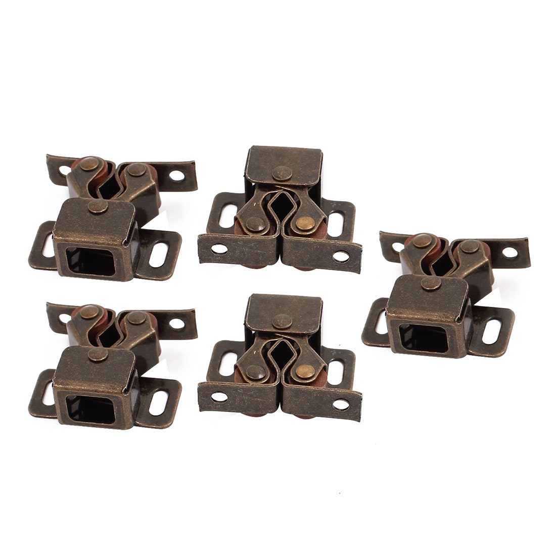 Cupboard Closet Cabinet Door Double Ball Roller Catch Latch 32 x 30 x 15mm Bronze Tone 5pcs
