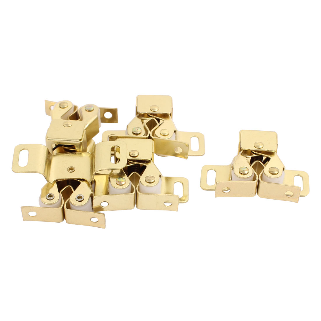 Cupboard Closet Cabinet Door Double Ball Roller Catch Latch 48 x 30 x 20mm Gold Tone 5pcs