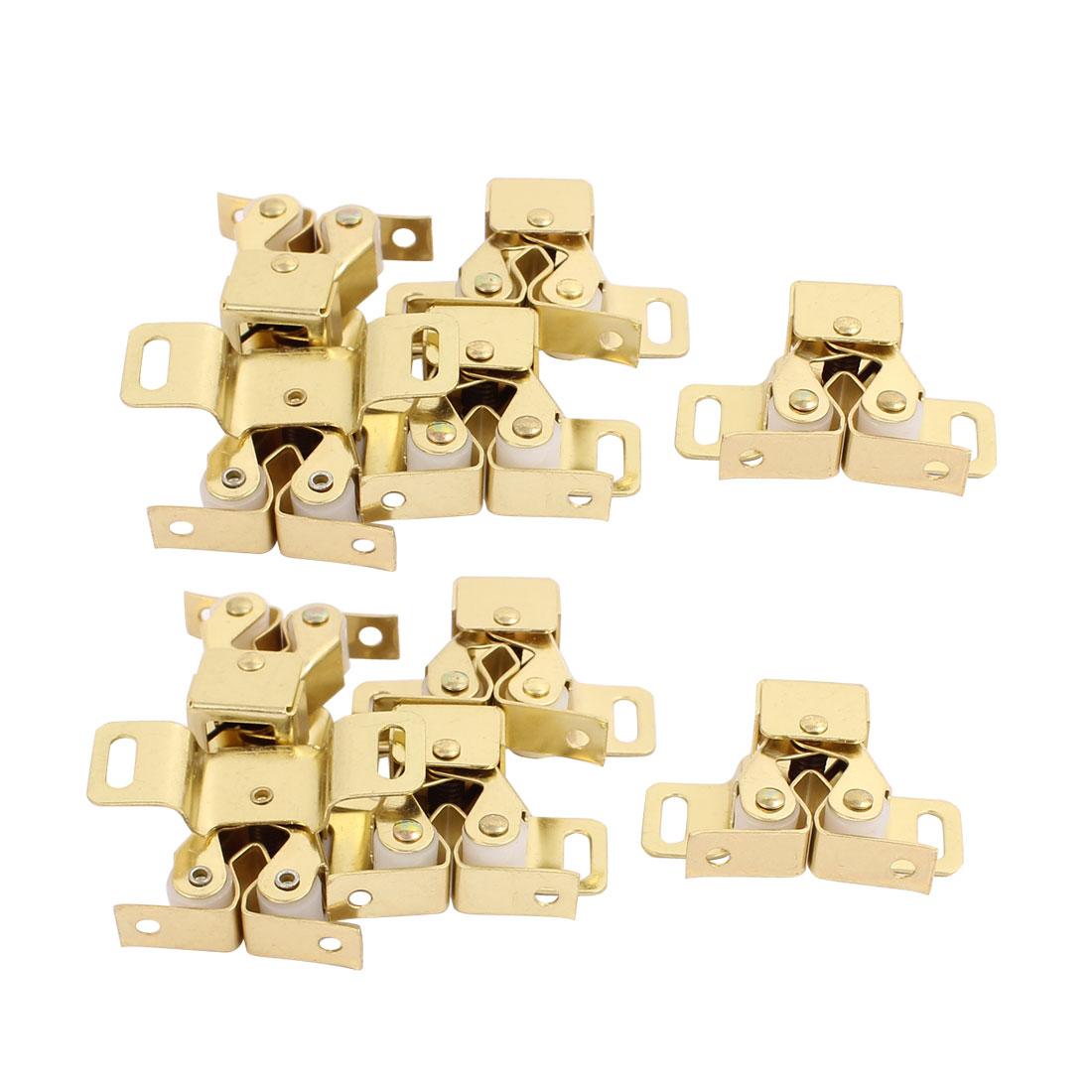 Cupboard Closet Cabinet Door Double Ball Roller Catch Latch 48 x 30 x 20mm Gold Tone 10pcs