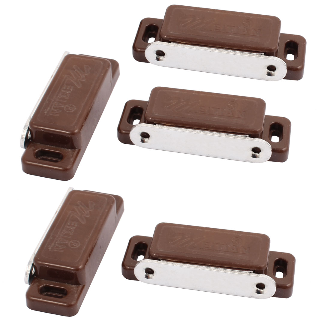 Plastic Single Head Door Magnetic Catch Latch Clip 75 x 26 x 16mm Brown 5pcs