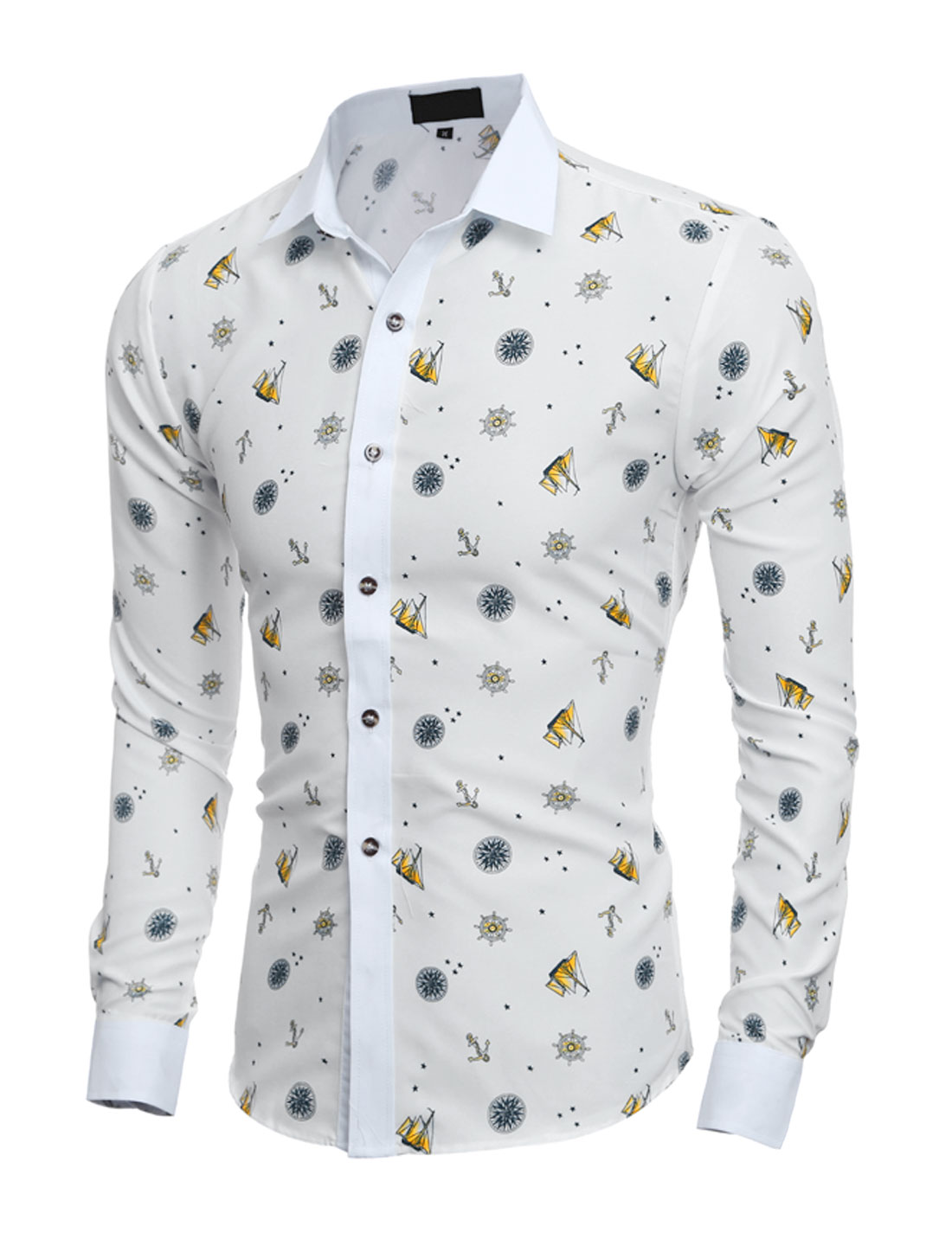 Men Long Sleeves Anchor Boat Novelty Prints Button Down Shirt Yellow S