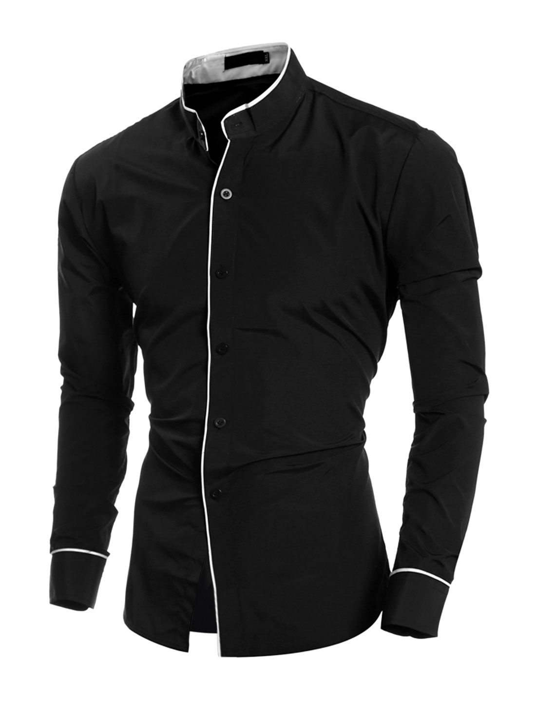Men Stand Collar Long Sleeves Button Down Slim Fit Shirt Black M
