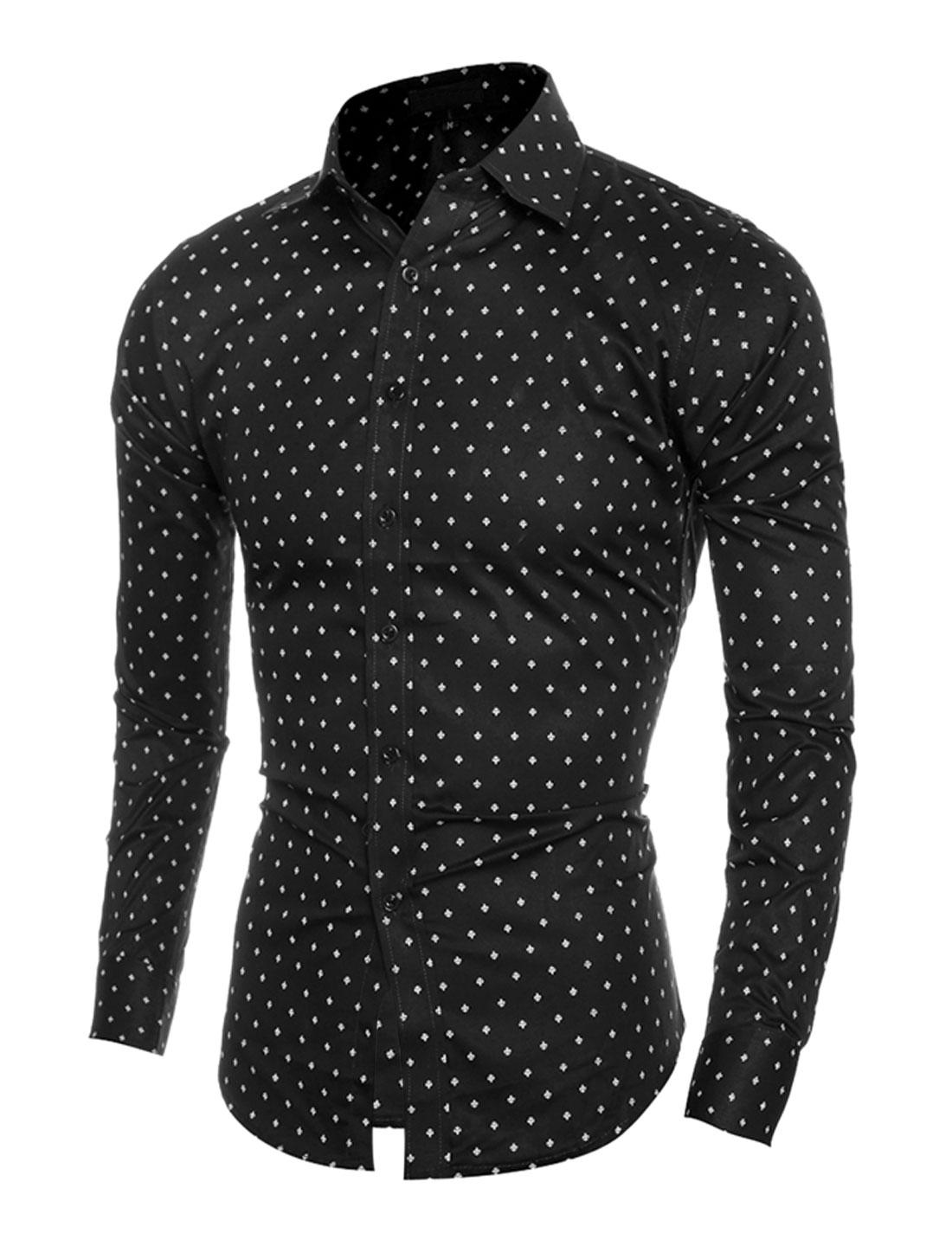 Men Point Collar Long Sleeves Airplane Prints Slim Fit Shirt Black S