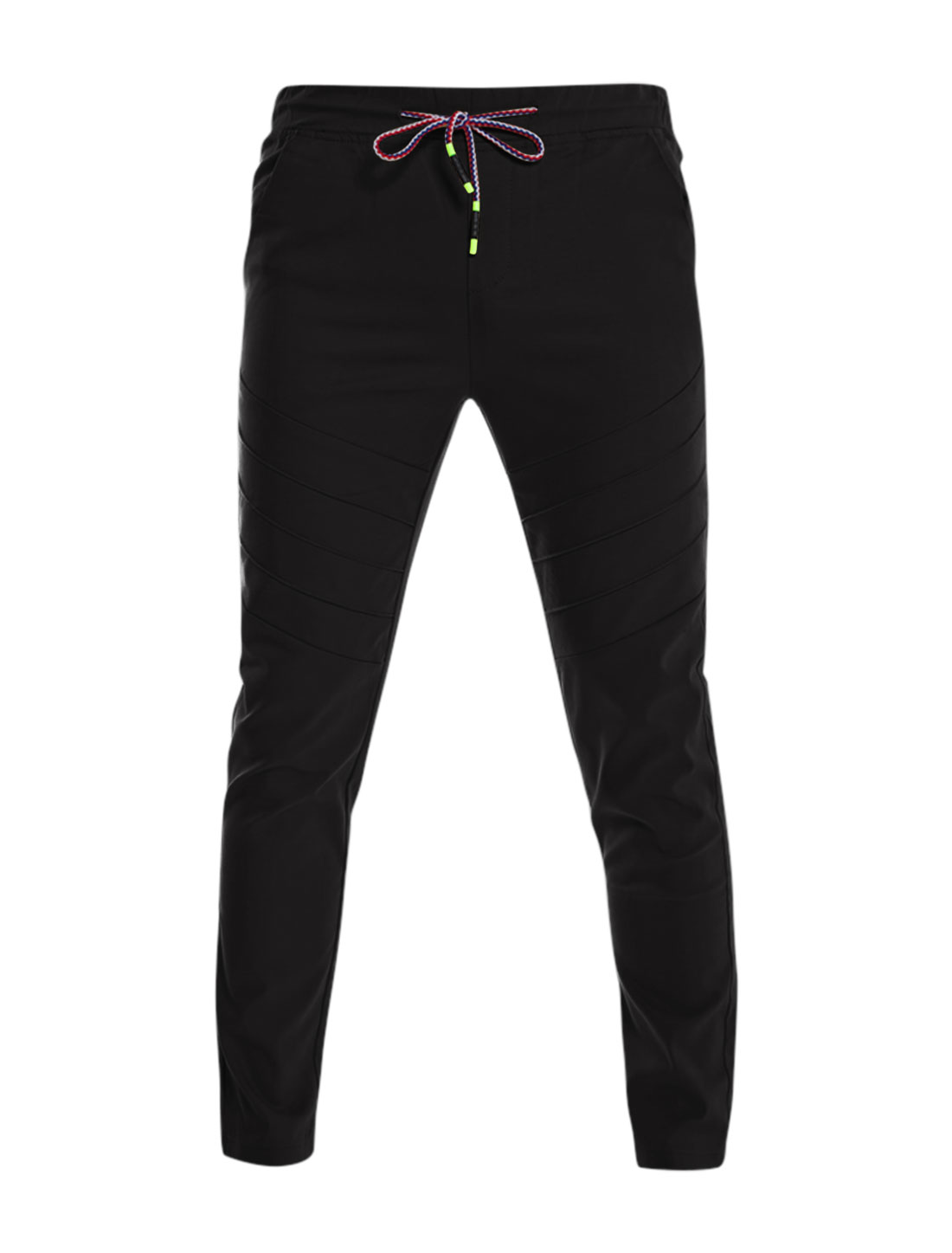 Men Drawstring Elastic Waist Slant Pocket Pleated Front Pants Black W30