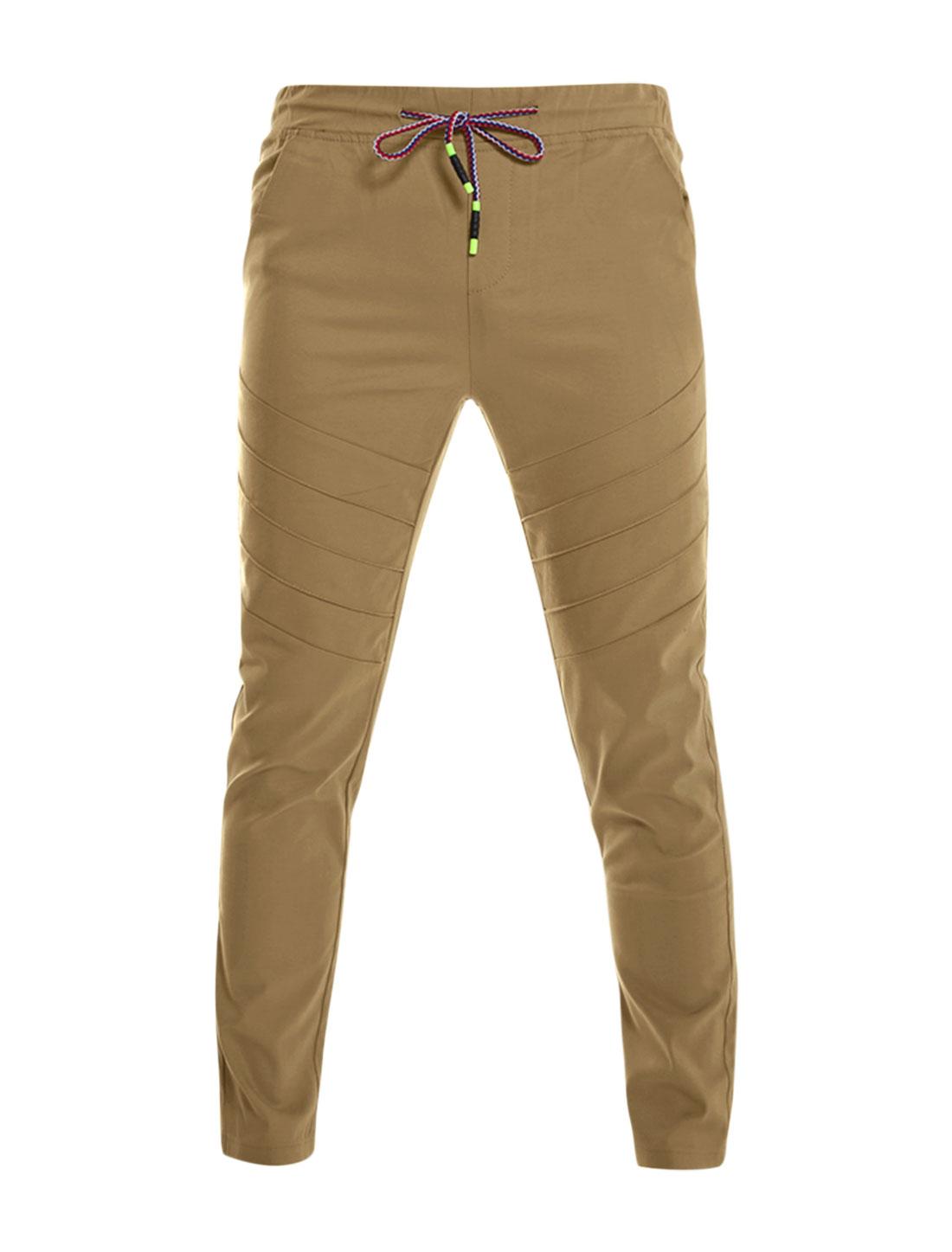 Men Drawstring Elastic Waist Slant Pocket Pleated Front Pants Brown W32