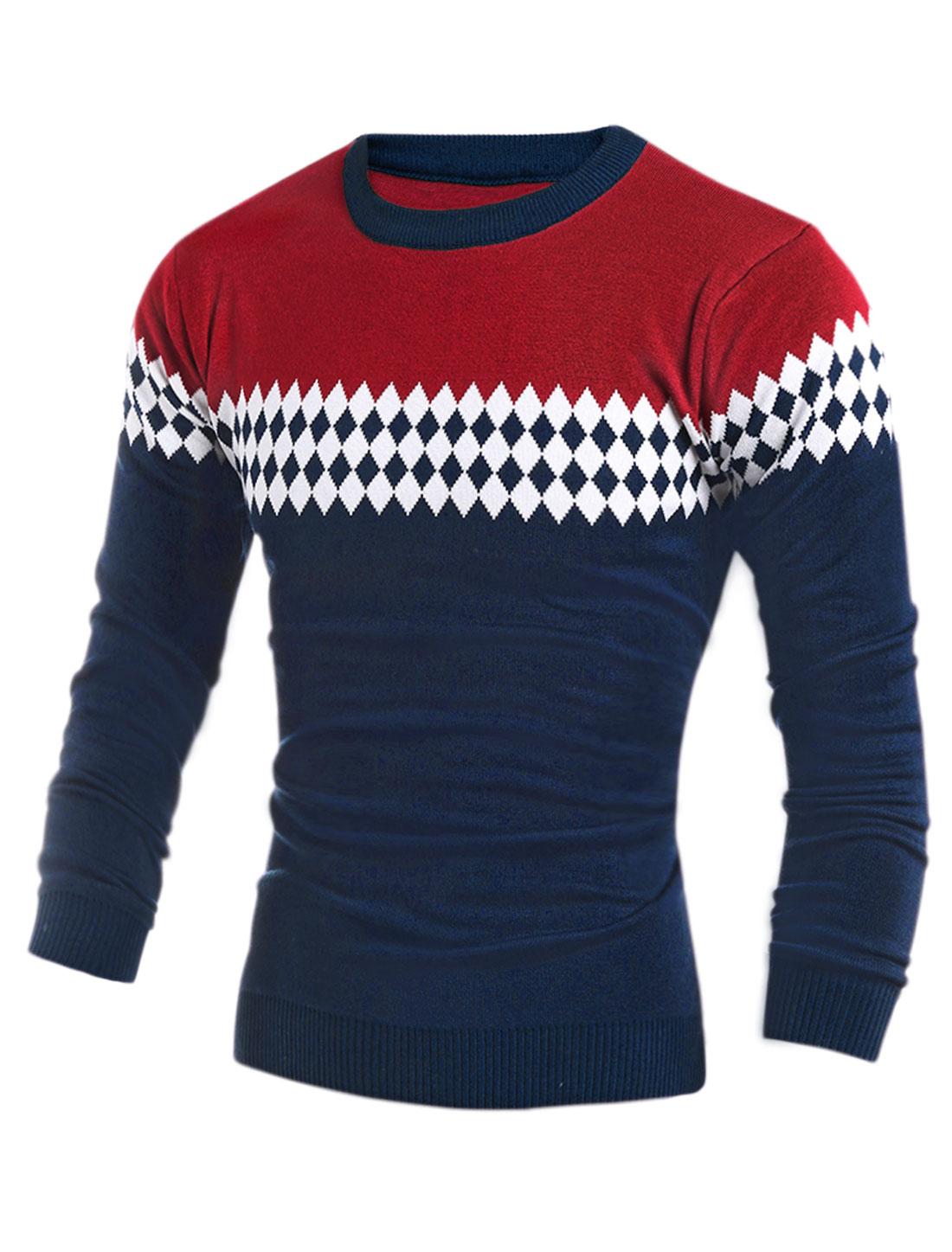 Men Argyle Pattern Crew Neckline Knitted Top Red S