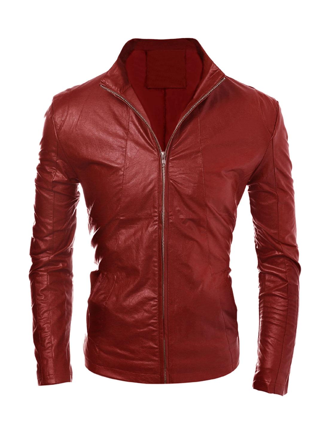Men Side Pockets Stand Collar Zippered Cuffs PU Jacket Red M