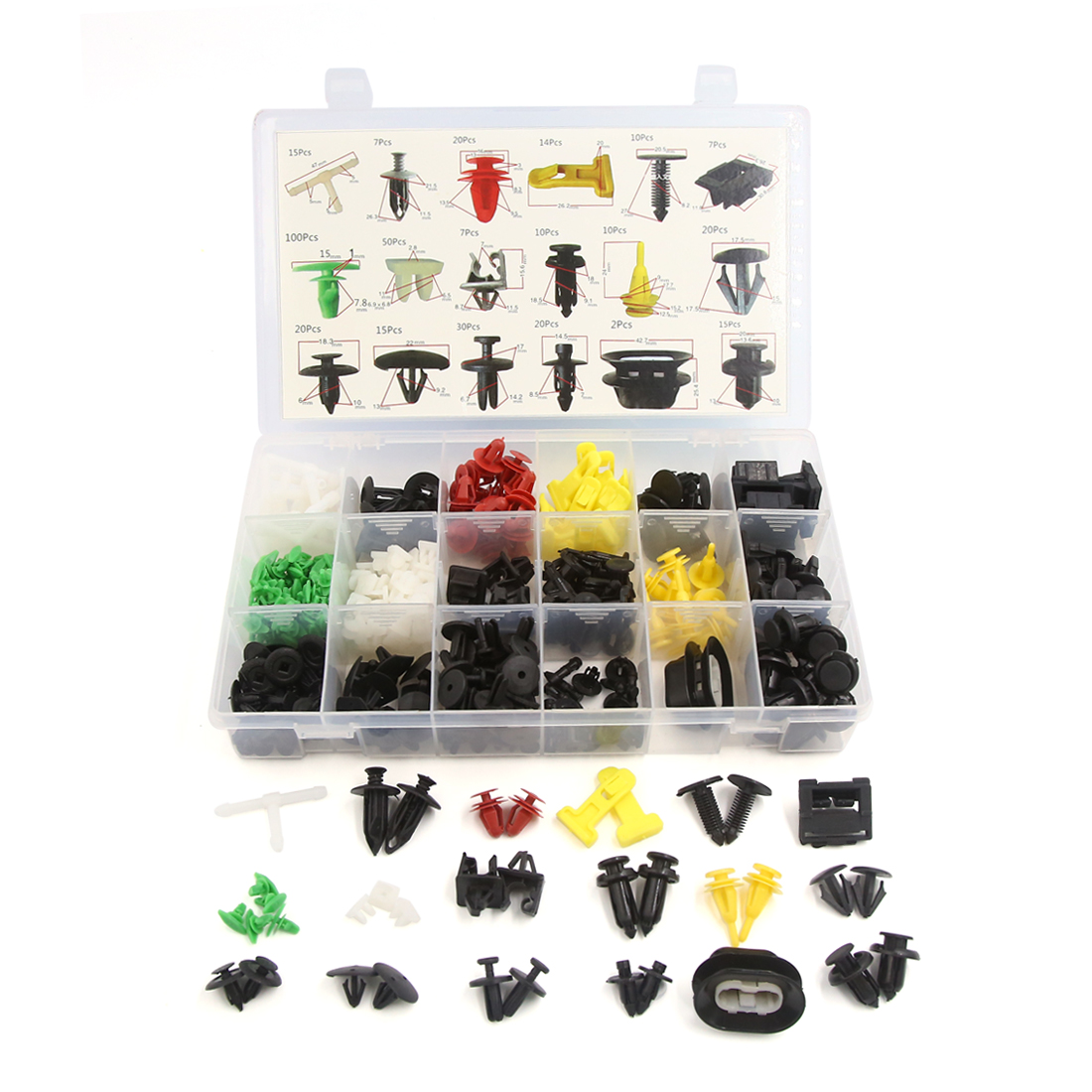 372Pcs 18 Type Plastic Door Fender Clip Retainers Hood Fastener Rivets Set