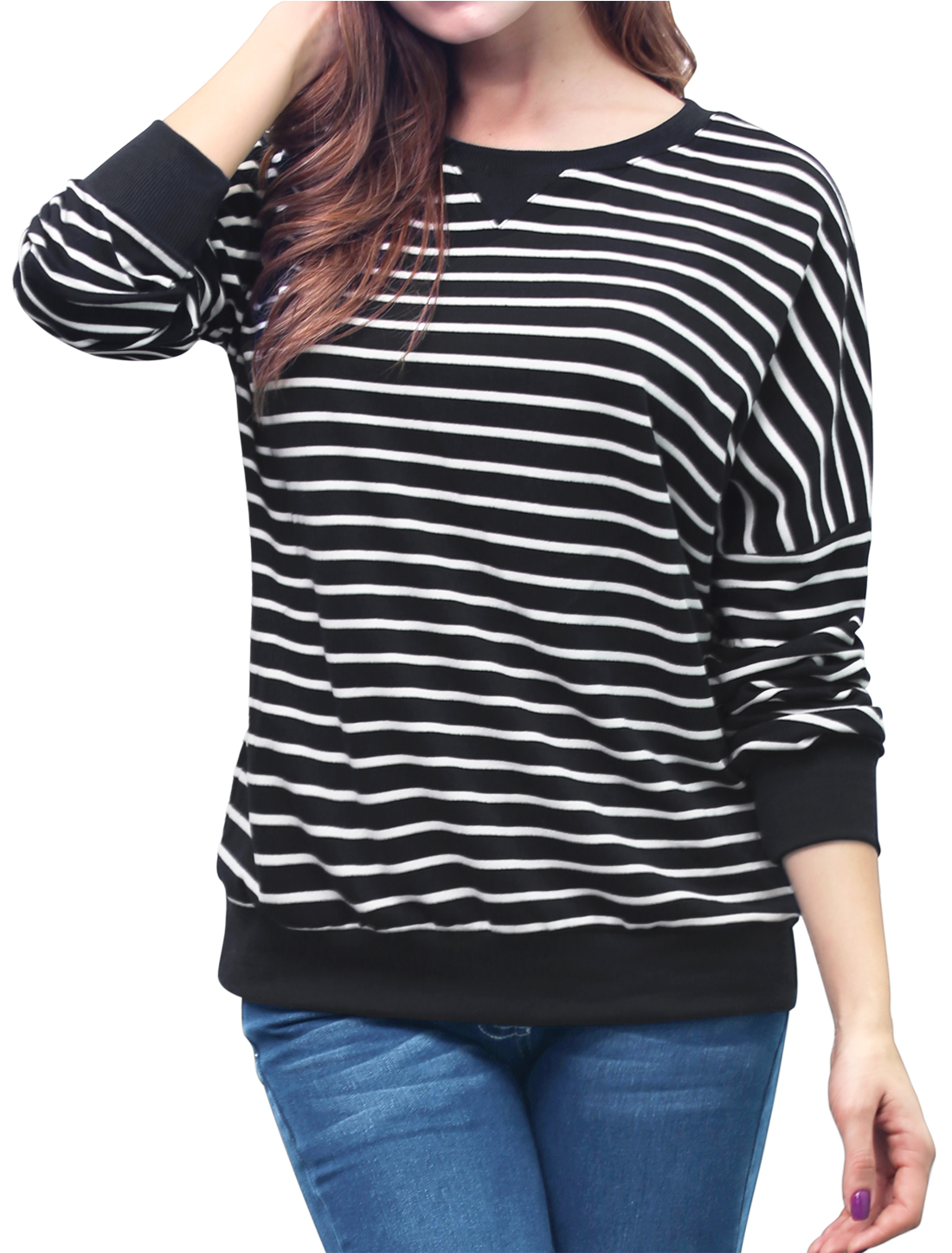 Ladies Stripes Dropped Shoulder Loose Sweatshirt Black L