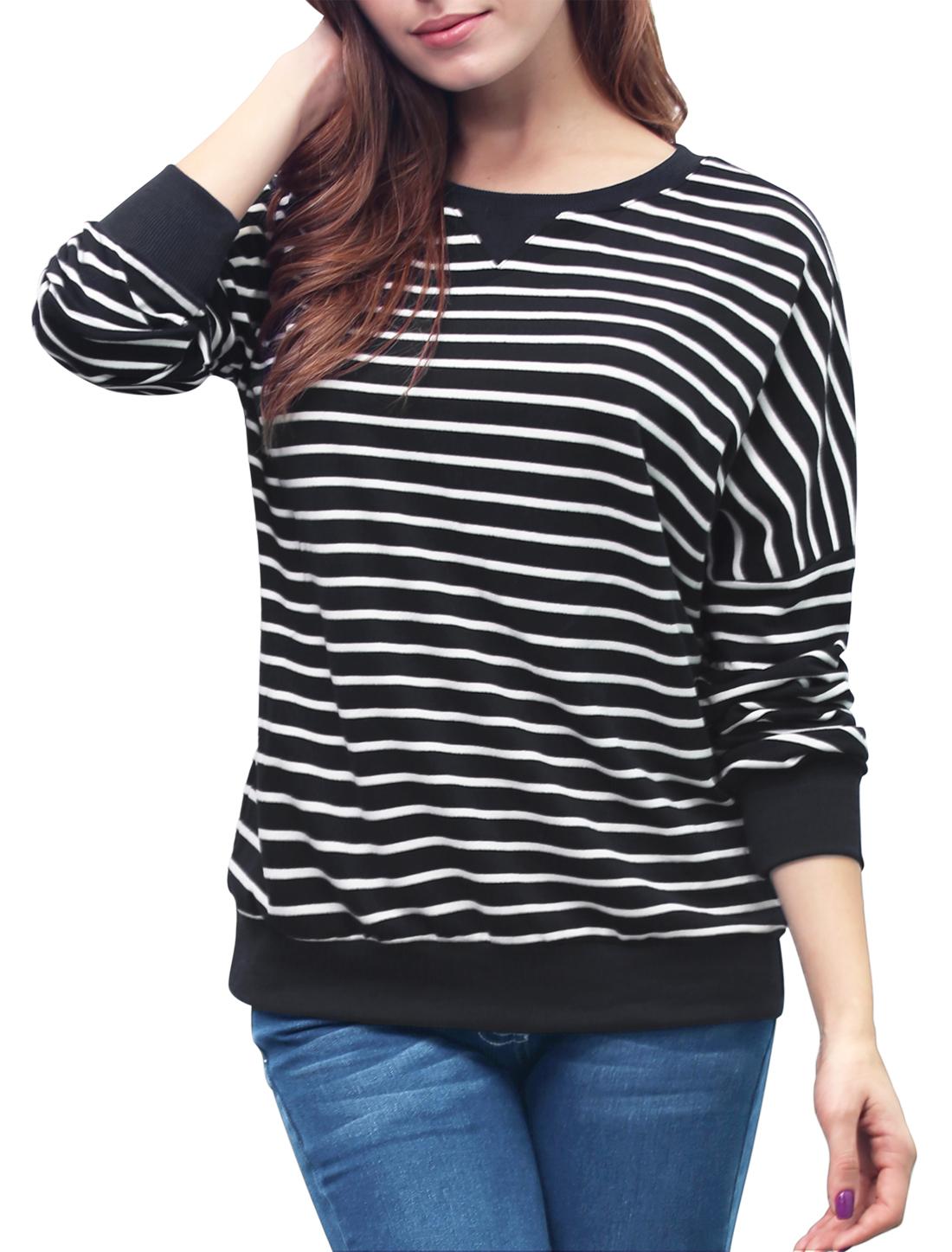 Ladies Stripes Dropped Shoulder Loose Sweatshirt Black XL