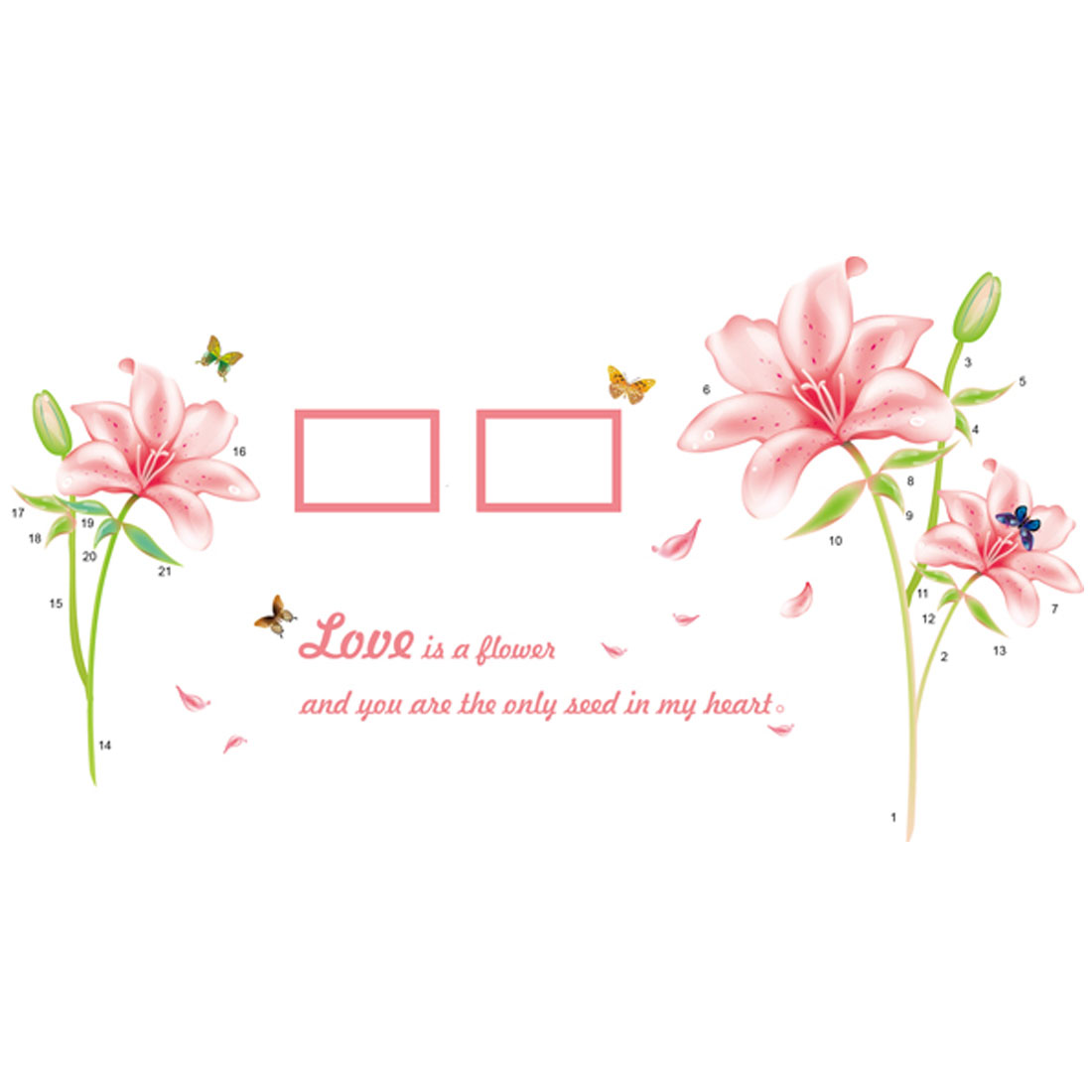 Home Bedroom PVC Lily Butterfly Pattern Self-adhesive Decor Wall Sticker Mural Multicolor