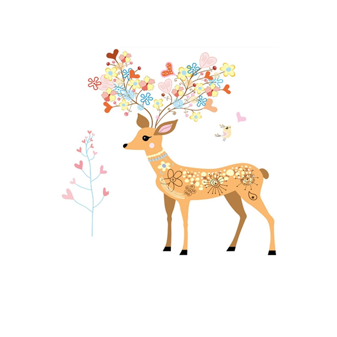 Home Bedroom PVC Sika Deer Pattern Self-adhesive Decor Ornament Wall Sticker Decal Multicolor