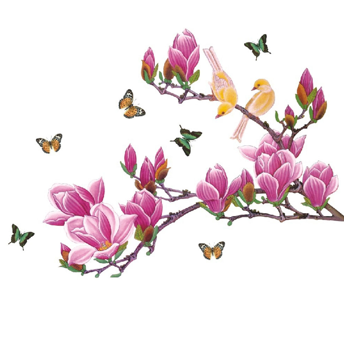 Home Bedroom PVC Bird Butterfly Pattern Self-adhesive Wall Sticker Decal Decoration Multicolor